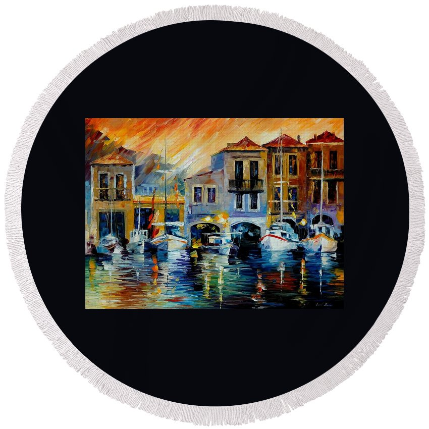 Afremov Round Beach Towel featuring the painting After A Day's Work by Leonid Afremov