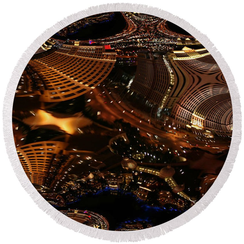 Las Vegas City The Strip Night Photograph Belagio Paris Caesars Palace Night Life Round Beach Towel featuring the photograph After A Night In Vegas by Andrea Lawrence