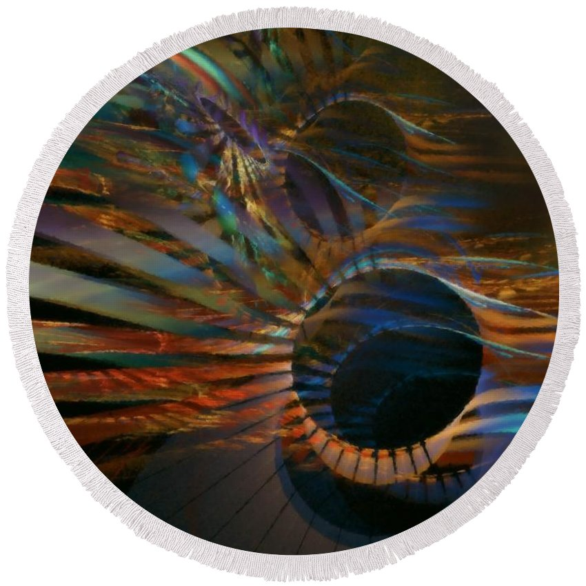 Abstract Round Beach Towel featuring the digital art After Hours by NirvanaBlues