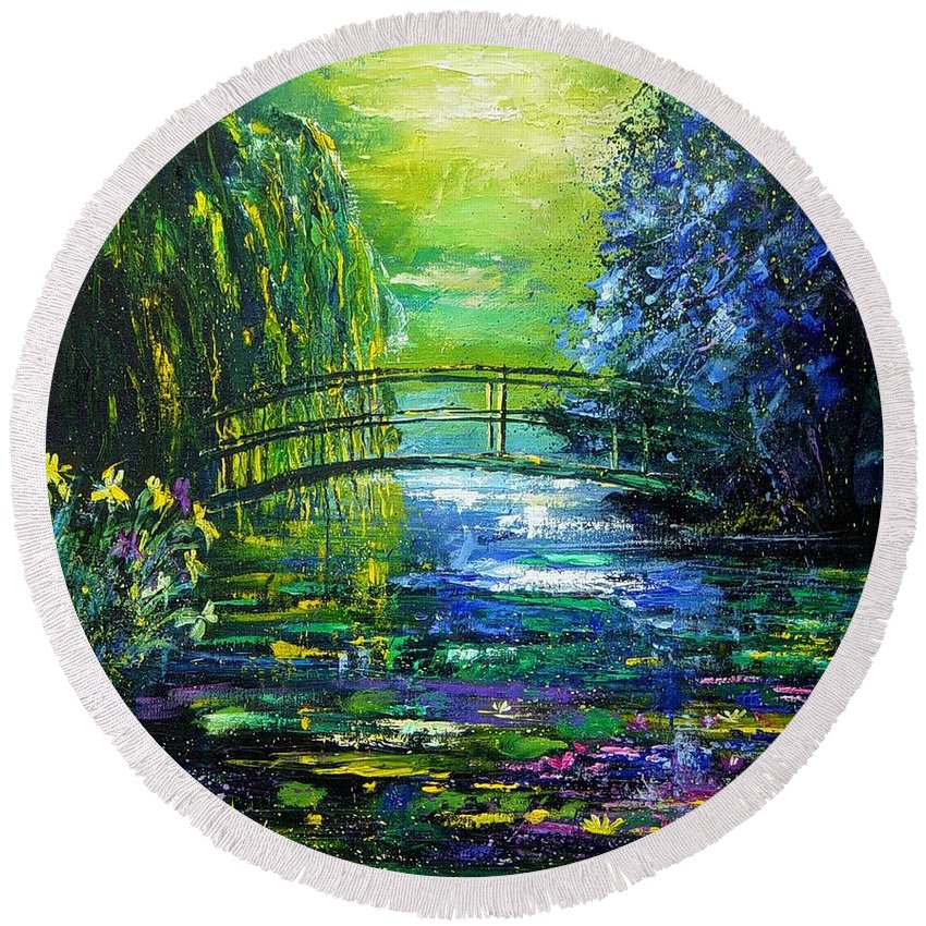 Pond Round Beach Towel featuring the painting After Monet by Pol Ledent