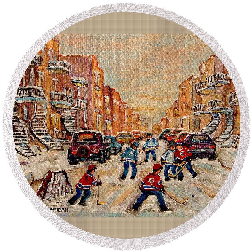 After School Hockey Game Round Beach Towel featuring the painting After School Hockey Game by Carole Spandau