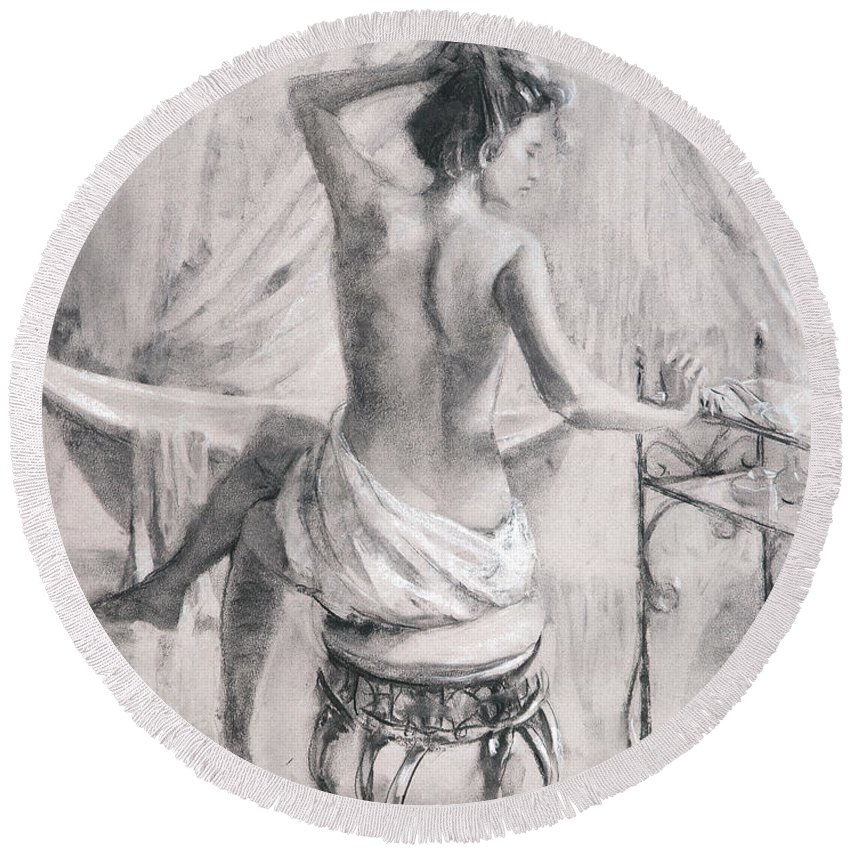 Bath Round Beach Towel featuring the painting After the Bath by Steve Henderson