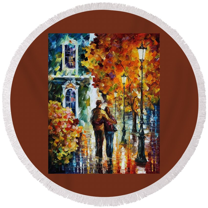 Afremov Round Beach Towel featuring the painting After The Date by Leonid Afremov