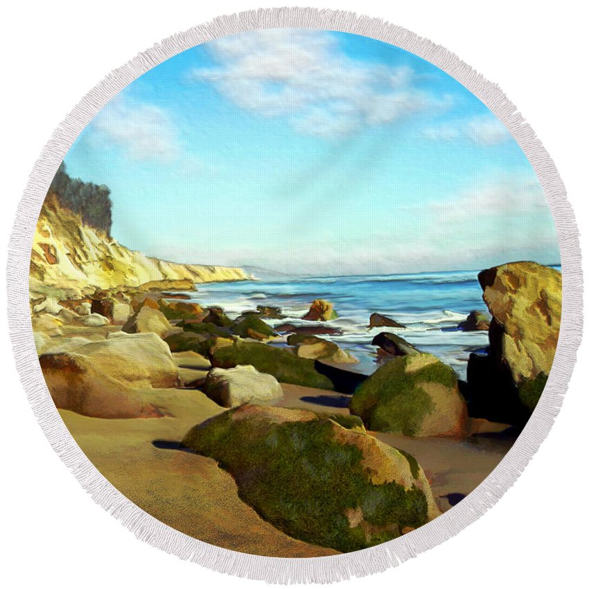 Ocean Round Beach Towel featuring the photograph After The Fog Gaviota by Kurt Van Wagner