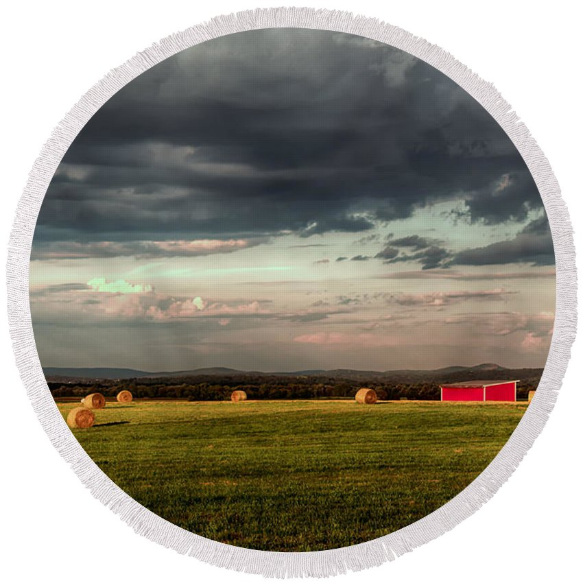 Farm Round Beach Towel featuring the photograph After The Rain by Eleanor Bortnick