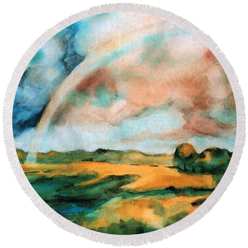 Landscape Round Beach Towel featuring the painting After The Rain by Iliyan Bozhanov