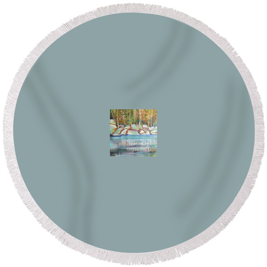 Landscape Round Beach Towel featuring the painting After The Rain by Karen Sloan