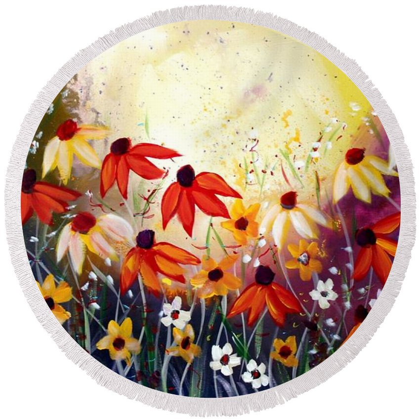 Flowers Round Beach Towel featuring the painting After The Rain by Luiza Vizoli