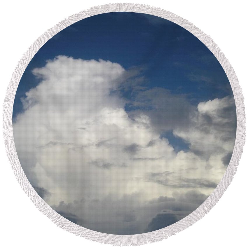 Clouds Round Beach Towel featuring the photograph After The Rain by Maria Bonnier-Perez