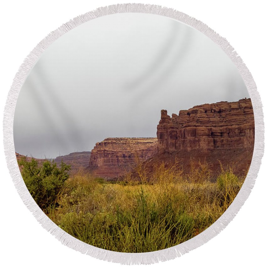 Valley Of The Gods Round Beach Towel featuring the photograph After The Rains by Jerry Sellers