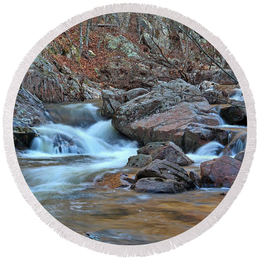 Pickle Creek Round Beach Towel featuring the photograph After The Rains On Pickle Creek 1 by Greg Matchick