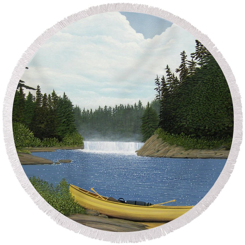 Landscapes Round Beach Towel featuring the painting After The Rapids by Kenneth M Kirsch