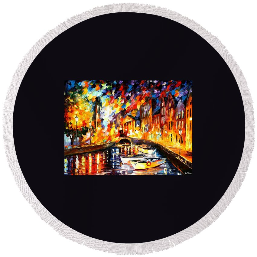Afremov Round Beach Towel featuring the painting After The River Turns by Leonid Afremov