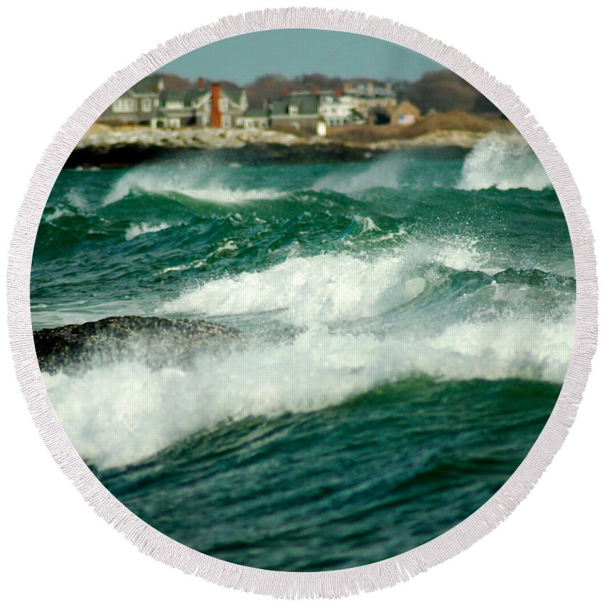 Rhode Island Round Beach Towel featuring the photograph After The Storm by Greg Fortier