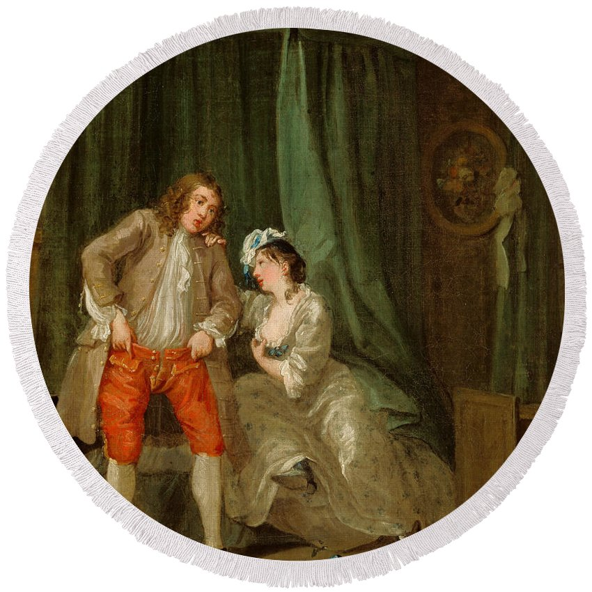 William Hogarth Round Beach Towel featuring the painting After 3 by William Hogarth