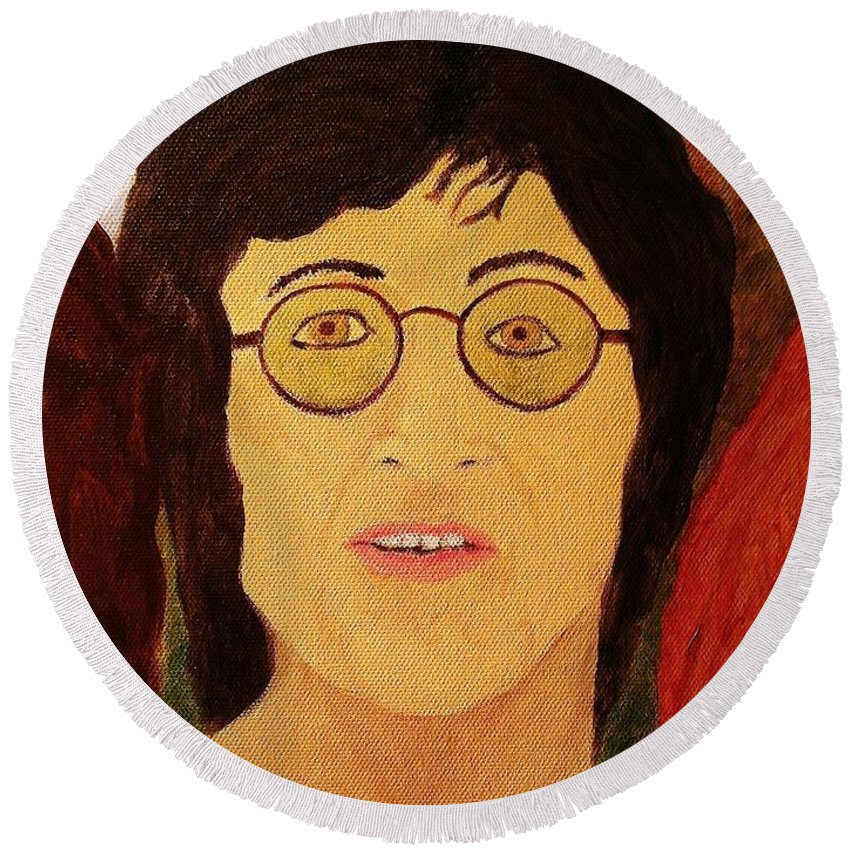 Afterlife Round Beach Towel featuring the painting Afterlife Concerto John Lennon by Rand Swift