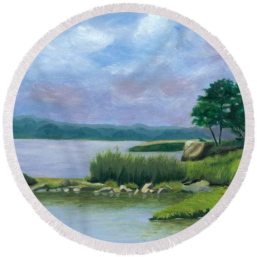 Seascape Round Beach Towel featuring the painting Afternoon At Pilgrim by Paula Emery
