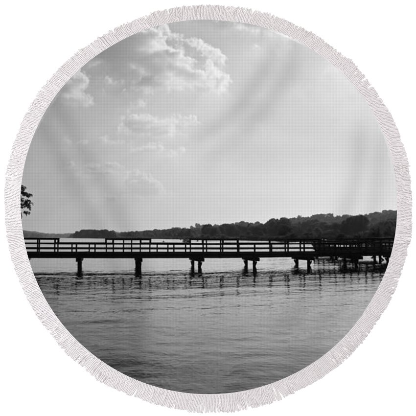 Landscape Round Beach Towel featuring the photograph Afternoon At The Pier by Todd Blanchard