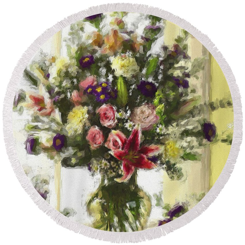 Flowers Round Beach Towel featuring the digital art Afternoon Kissed of Color by Stephen Lucas