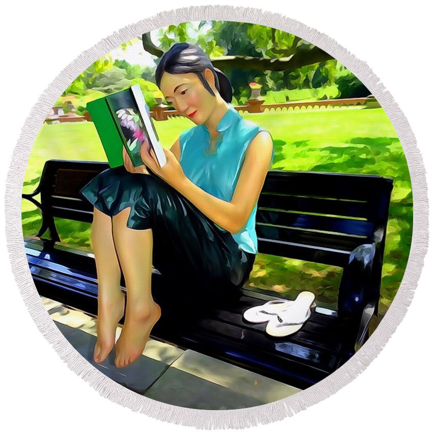 Photo Painting Round Beach Towel featuring the digital art Afternoon Read by Ed Weidman
