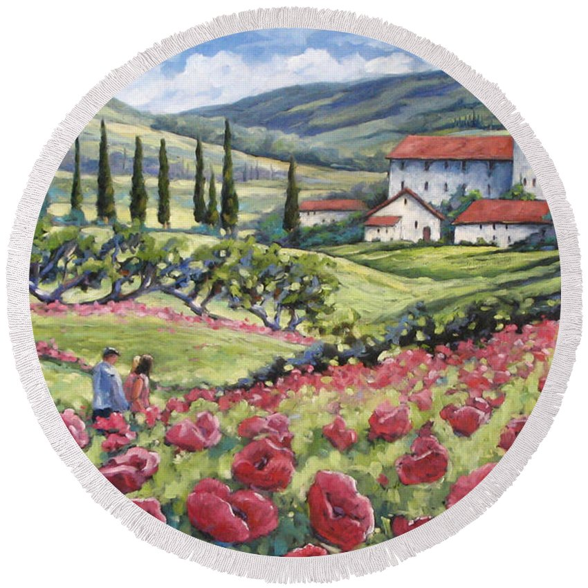 Tuscan Round Beach Towel featuring the painting Afternoon Stroll by Richard T Pranke