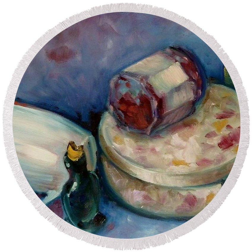 Tea Round Beach Towel featuring the painting Afternoon Tea by K M Pawelec