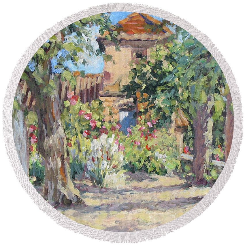 France Round Beach Towel featuring the painting Afternoon Tea by L Diane Johnson
