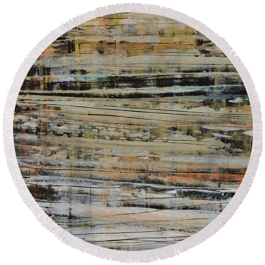 Round Beach Towel featuring the painting Against The Grain by Declan O'Reilly