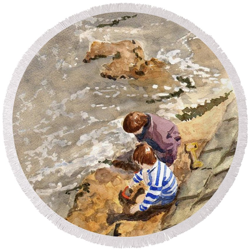 Water. Sea. Tide. Boys. Children. Coast. Beach. Coastal. Sand. Sea. Play. Round Beach Towel featuring the painting Against The Tide by John Cox