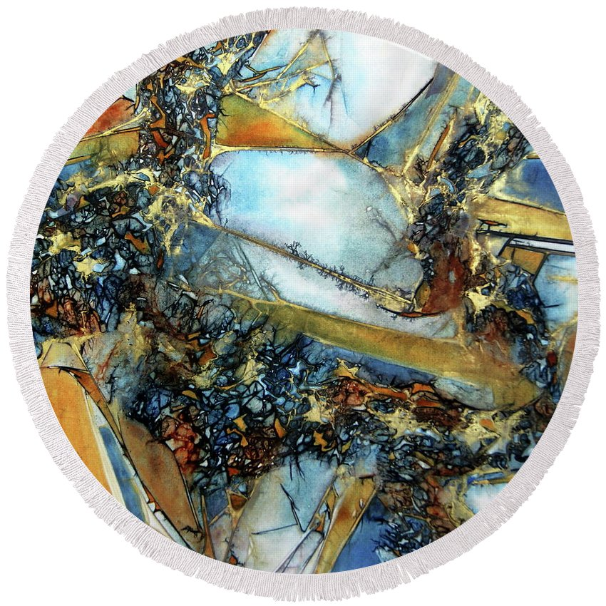 Agate Round Beach Towel featuring the painting Agate Geode by Dana Roper