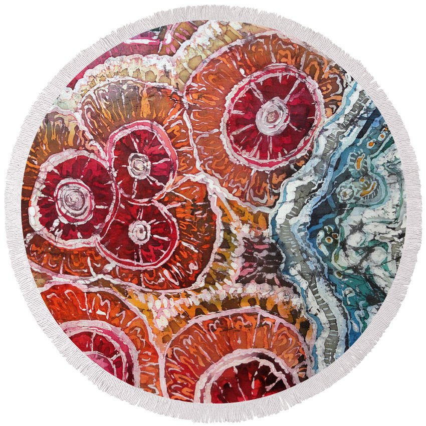 Agates Round Beach Towel featuring the painting Agate Inspiration - 16a by Sue Duda