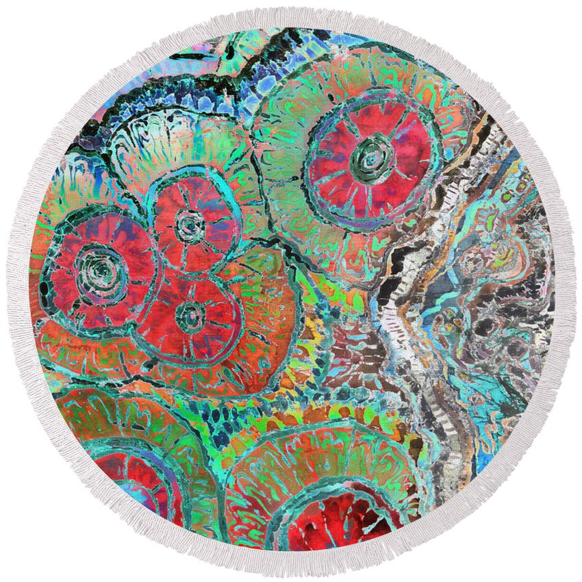 Agates Round Beach Towel featuring the painting Agate Inspiration - 16b by Sue Duda