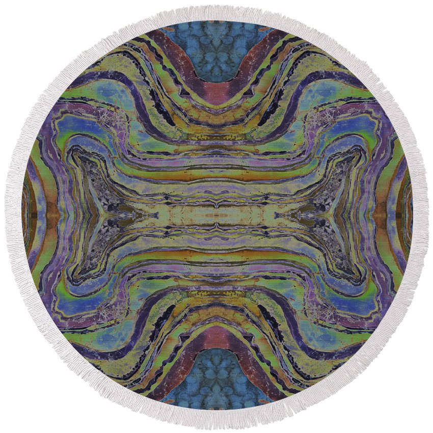 Agates Round Beach Towel featuring the painting Agate Inspiration - 24c by Sue Duda