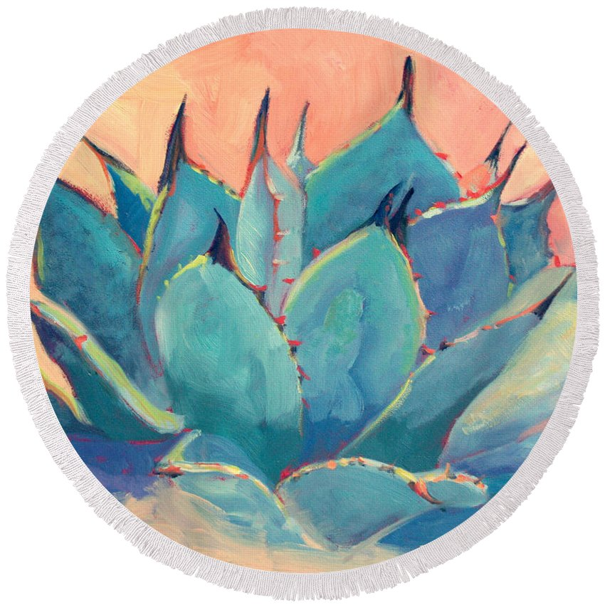 Plant Round Beach Towel featuring the painting Agave 2 by Athena Mantle