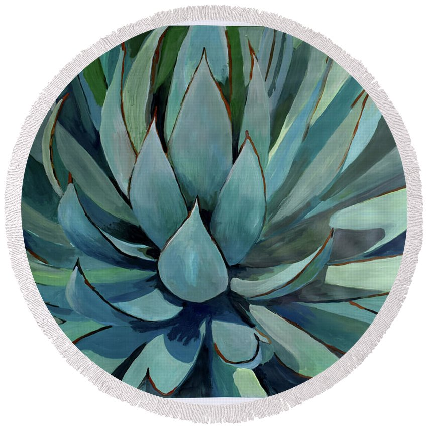 Pastel Round Beach Towel featuring the painting Agave Americana by Geoff Greene