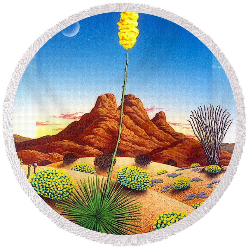 Agave Cactus Round Beach Towel featuring the painting Agave Bloom by Snake Jagger