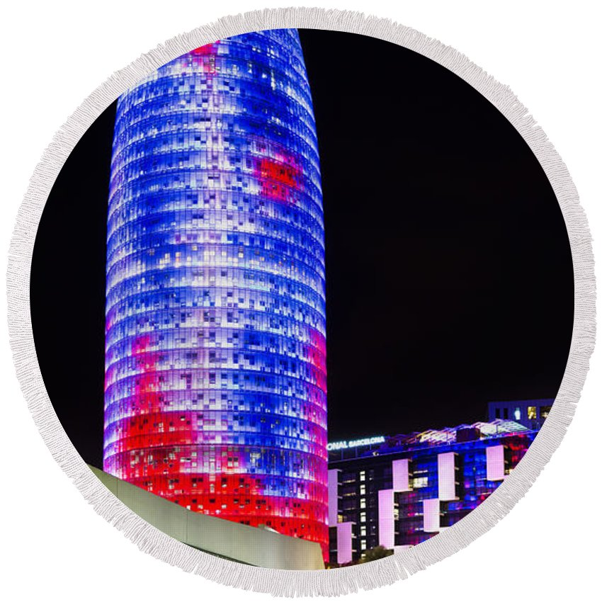 Barcelona Round Beach Towel featuring the photograph Agbar Tower In Barcelona by Marc Garrido