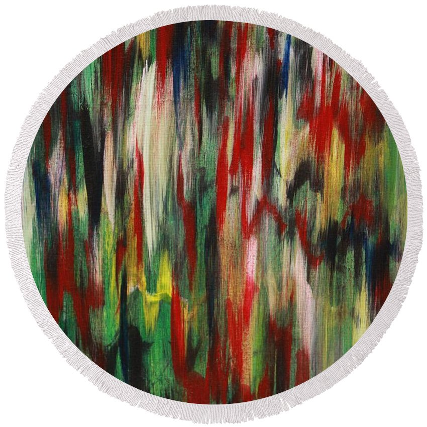 Abstract Round Beach Towel featuring the painting Agony by Jacqueline Athmann