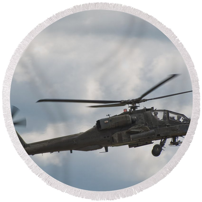 Helicopter Round Beach Towel featuring the photograph Ah-64 Apache by Sebastian Musial