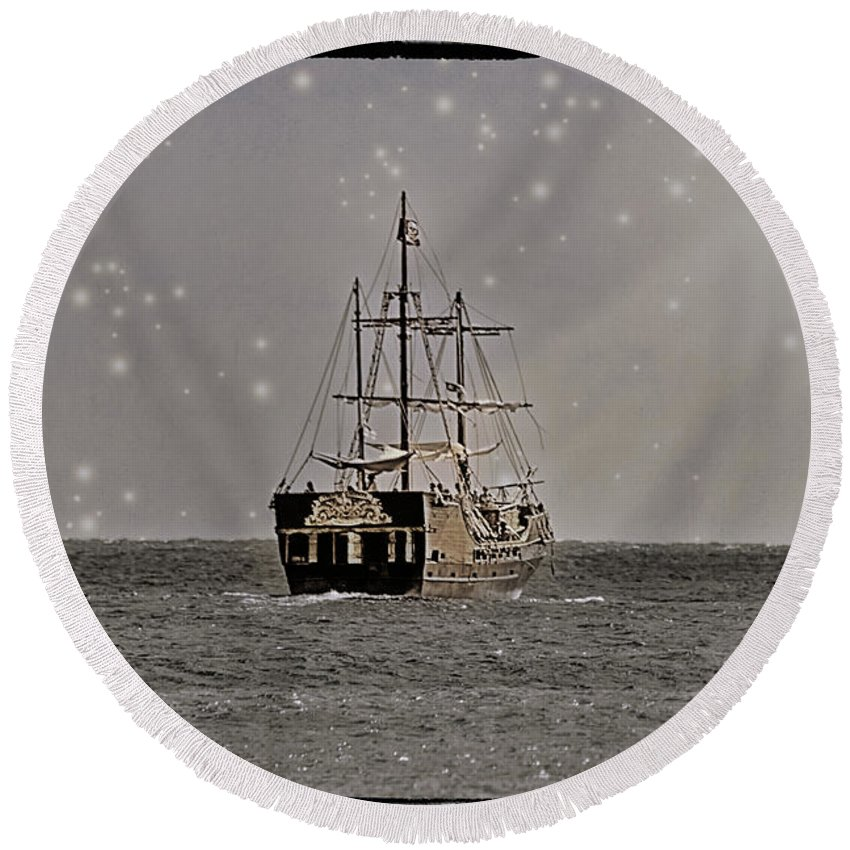 Ocean Round Beach Towel featuring the photograph Ahoy Matey by Linda Tiepelman