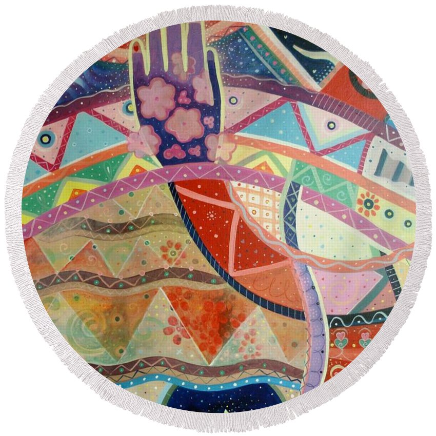 Hand Round Beach Towel featuring the painting Aim High by Helena Tiainen