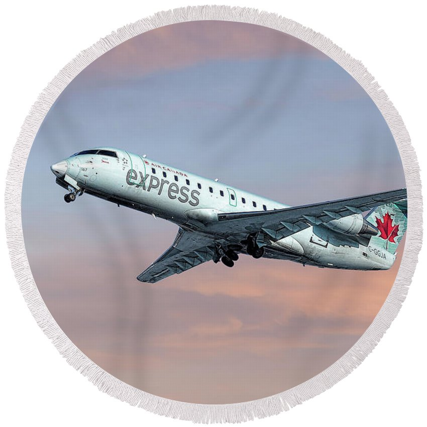 Air Canada Express Round Beach Towel featuring the mixed media Air Canada Express Bombardier Crj-200 by Smart Aviation
