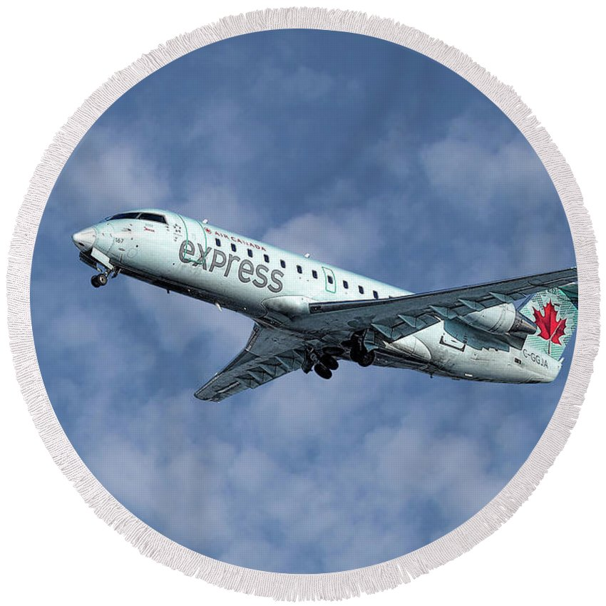 Air Canada Express Round Beach Towel featuring the mixed media Air Canada Express Bombardier Crj-200er by Smart Aviation