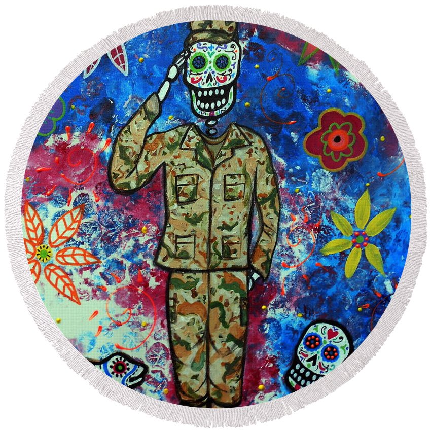 Air Round Beach Towel featuring the painting Air Force Day Of The Dead by Pristine Cartera Turkus