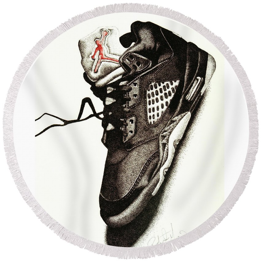 Shoes Round Beach Towel featuring the drawing Air Jordan by Robert Morin