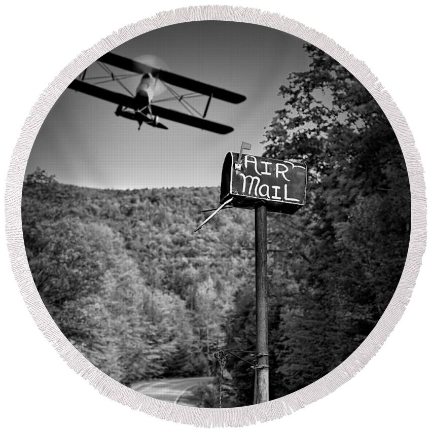 Landscape Round Beach Towel featuring the photograph Air Mail Delivery Maine Style by Bob Orsillo