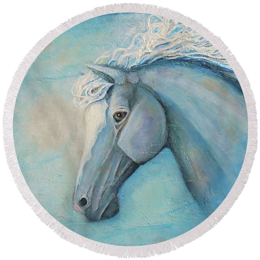 Horse Painting Round Beach Towel featuring the painting Air by Nancy Quiaoit