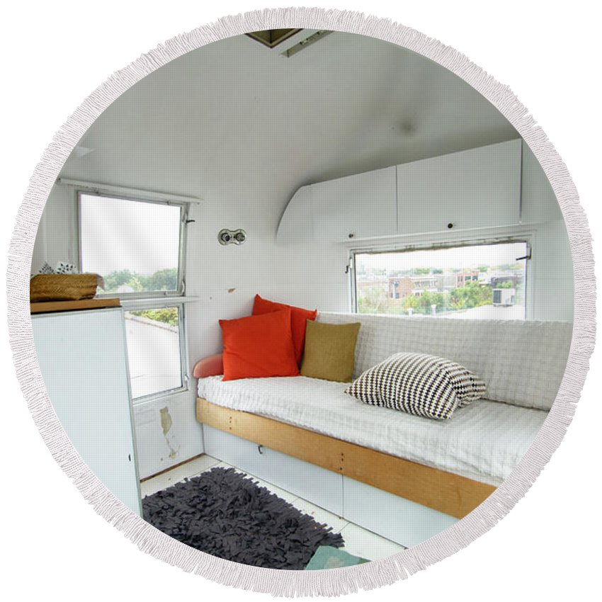 Round Beach Towel featuring the photograph Air Stream Two by Sara Schroeder