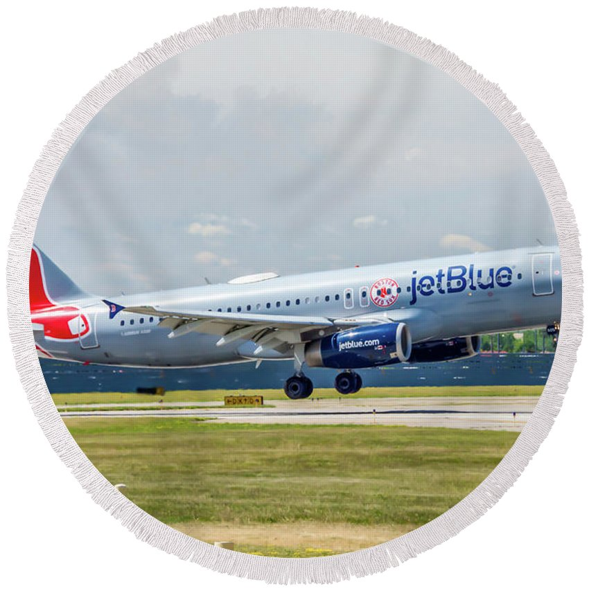 Air Travel Round Beach Towel featuring the photograph Airbus A320 Boston Strong by Guy Whiteley