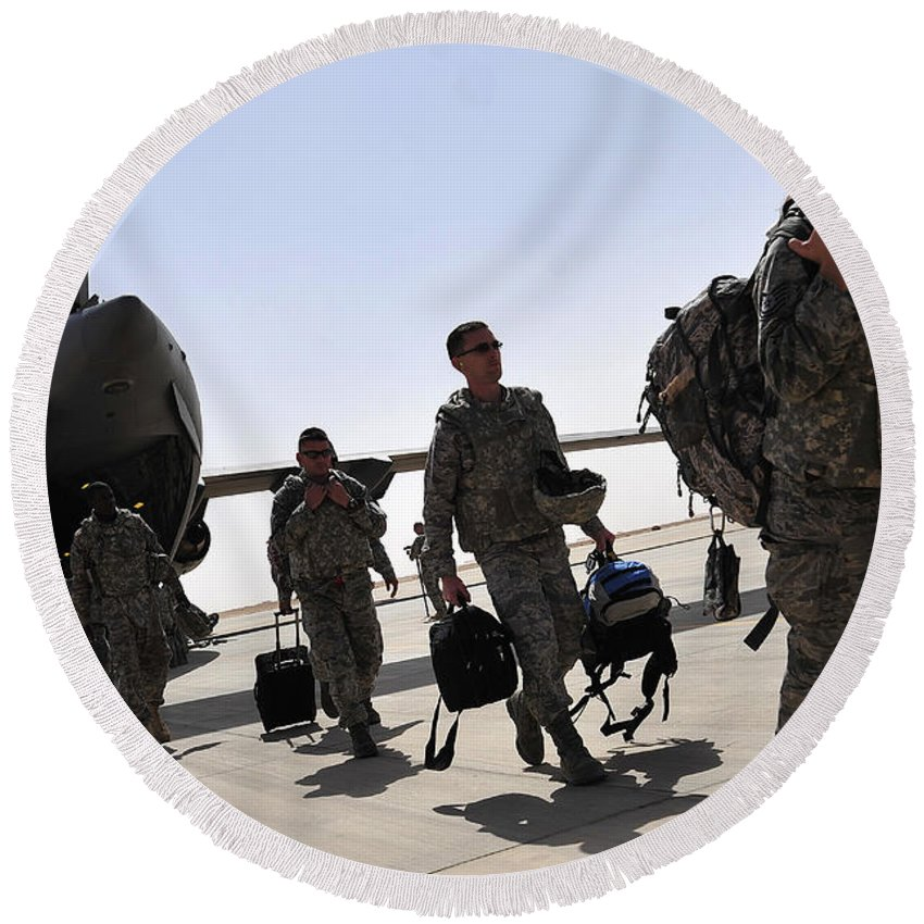 Air Force Round Beach Towel featuring the photograph Airmen Arrive In Iraq In Support by Stocktrek Images